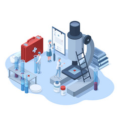 isometric medical pharmaceutical research 3d vector image