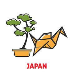 Japan promotional poster with bonsai tree and vector