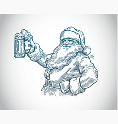 jolly santa claus with a beer in hand vector image