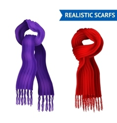 Knitted Scarf Image Set vector