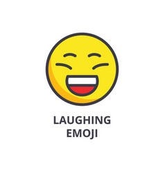 laughing emoji line icon sign vector image