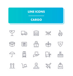 line icons set cargo vector image