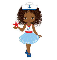 Little african american girl with starfish vector