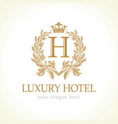 Luxury h hotel logo vector