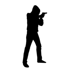 Man in the hood with gun concept danger short arm vector