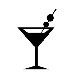 Martini Glass Icon Silhouette vector