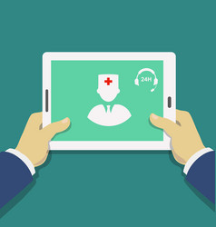 medical consultant online hands holding tablet vector image
