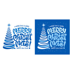 merry christmas artistic lettering calligraphy vector image
