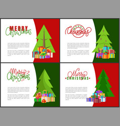 merry christmas greeting cards xmas tree and gifts vector image