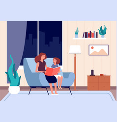 Mother reading book mom read bedtime story to her vector