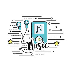 Mp3 with headphones to listen and play music vector
