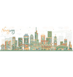 Nanjing china skyline with color buildings vector