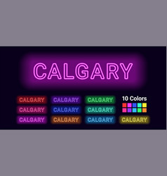 Neon name of calgary city vector