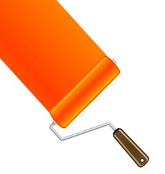 Orange paint roller background vector image