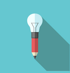 Pencil-lightbulb flat style vector