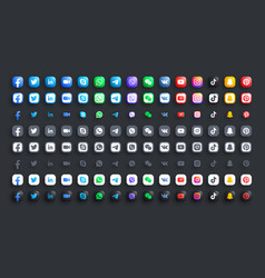 popular social media network and messengers vector image