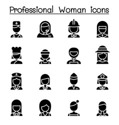 Professional woman icon set vector