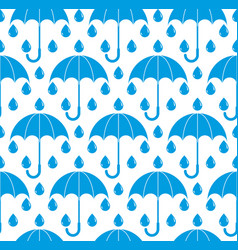 rain drops and umbrellas seamless pattern blue vector image