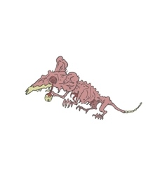 Rat Creepy Zombie Outlined Drawing vector