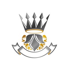 Royal crown emblem heraldic design element retro vector