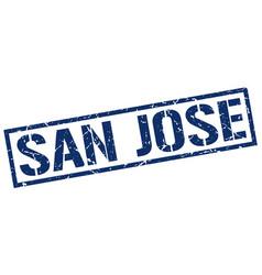 San jose blue square stamp vector