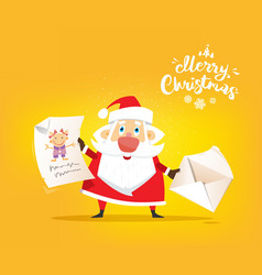 santa claus receive a letter of wishes vector image