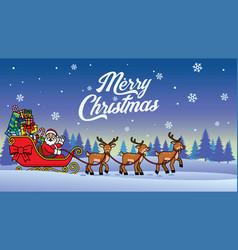 santa riding snow sleigh vector image