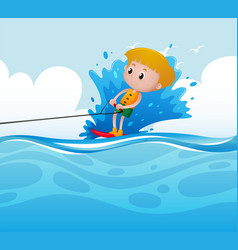 scene with boy doing water ski vector image