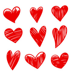 set doodle hearts isolated on white background vector image