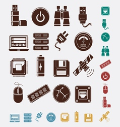 Set hosting icons vector