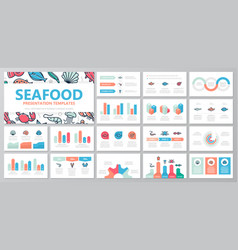 Set of fish and sea food elements for multipurpose vector