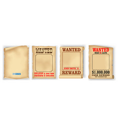 set of realistic wanted poster isolated or vintage vector image