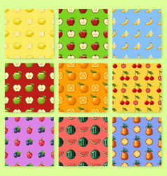 set of seamless patterns with pixel fruits and vector image