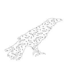 Sketch a bird a raven vector