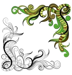 Sketchy doodles decorative floral outline vector