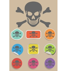 Skull and bones warning sign - vector image