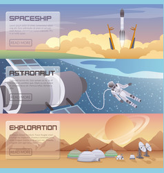 Space discovery horizontal banners vector