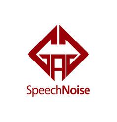 speech noise initial letter gag square logo vector image