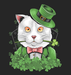 St patrick s day cute cat vector