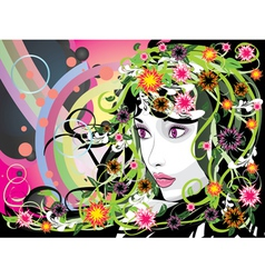 Summer girl with flowers vector image