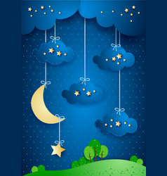Surreal landscape by night with hanging clouds vector