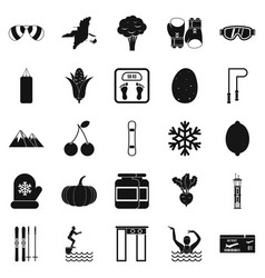Swimming icons set simple style vector