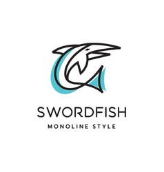 sword fish logo vector image