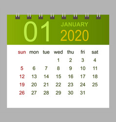 template calendar for january 2020 week starts vector image