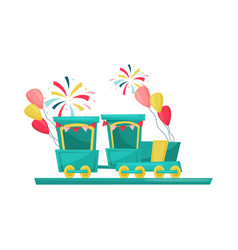 train ride for children colorful air balloons and vector image