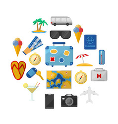 travel icons round composition vector image