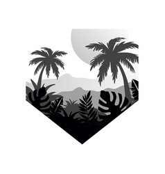Tropical scenery with palms mountains and sun vector