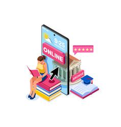 University library e-book concept vector
