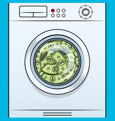 Washing machine laundering dollars pop art vector