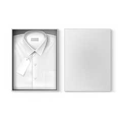 White classic men shirt label in packaging box vector